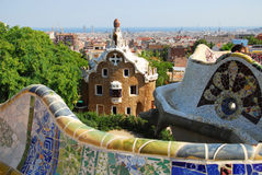 Park Guel in Barcelona. Parc Guell Barcelona, one of Antoni Gaudi design, september 2009 stock photo