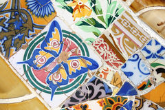 Park Guell. Colorful mosaic in Antoni Gaudi's Park Guell - Barcelona detail. Artistic background texture of trencadis Stock Photography
