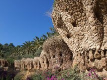 Park Guell. Designed by Antoni Gaudi in Park Guell, Barcelona, Spain Royalty Free Stock Photo