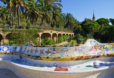 Park guell. In Barcelona, designed by Antonio Gaudi royalty free stock photography