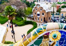 Park Guell. Detail of the modernist ceramics from the Guadi bench in park Guell Barcelona, Spain Royalty Free Stock Photography