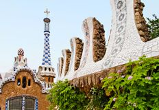 Park Guell. Fragmenes of Gaudi's mosaic work in Park Guell in Barcelona, Spain Stock Photos