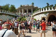 Park Guell. The Park Guell is a public park in the city of Barcelona. The development project was commissioned by Eusebi Guell, patron of the architect Antoni stock image