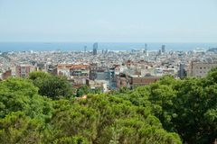Park Guell. The Park Guell is a public park in the city of Barcelona. The development project was commissioned by Eusebi Guell, patron of the architect Antoni stock photos