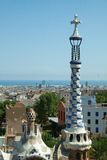 Park Guell. The Park Guell is a public park in the city of Barcelona. The development project was commissioned by Eusebi Guell, patron of the architect Antoni royalty free stock images