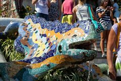 Park Guell. The Park Guell is a public park in the city of Barcelona. The development project was commissioned by Eusebi Guell, patron of the architect Antoni stock photo