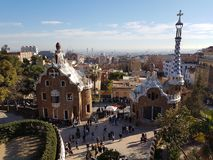 Park Guell. Antonio Gaudi's iconic park in barcelona, spain stock photos