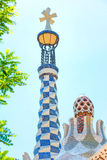 Park Guell by Antonio Gaudi. In summer day, Barcelona, Spain Royalty Free Stock Photos