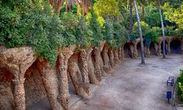Park Guell by architect Antoni Gaudi in Barcelona. Spain stock photography