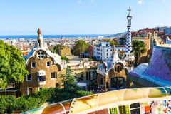 Park Guell by architect Antoni Gaudi, Barcelona, Spain Stock Images