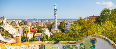 Park Guell by architect Antoni Gaudi, Barcelona, Spain stock photo