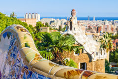 Park Guell by architect Antoni Gaudi, Barcelona, Spain stock photos