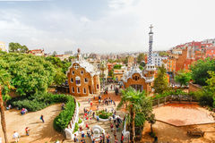 Park Guell by architect Antoni Gaudi in Barcelona, Spain Stock Images