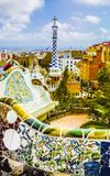 Park Guell by architect Gaudi in a summer day in Barcelona, Spain. royalty free stock image