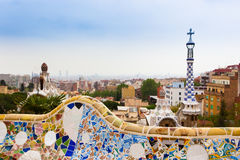 Park Guell by architect Gaudi in Barcelona, Spain. Stock Photography