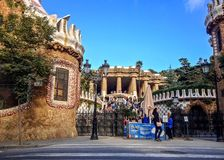Park Guell by architect Gaudi in a summer day with blue sky in Barcelona, Spain royalty free stock photos