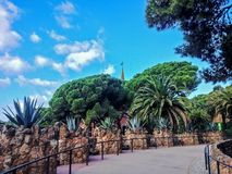 Park Guell by architect Gaudi in a summer day with blue sky in Barcelona, Spain royalty free stock images