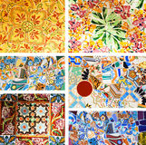 Park Guell. Architectural details. Architectural details of mosaics in the famous Park Guell in Barcelona, Spain stock photo