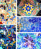 Park Guell. Architectural details. Architectural details of mosaics in the famous Park Guell in Barcelona, Spain royalty free stock image