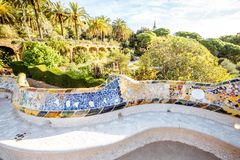 Park Guell in Barcelona stockbilder