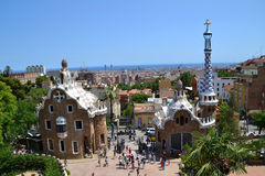 Park Guell of Barcelona. BARCELONA, SPAIN - July 6: Park Guell in Barcelona, Spain on July 6, 2012. Park Guell is a garden with modernist architectural elements Stock Images