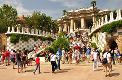 Park Guell. Barcelona. Entrance to the Guell park built by architect Gaudi. Barcelona Stock Photography