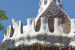 Park Guell, Barcelona. Colorful mosaic roof fragment from famous Barcelona landmark Park Guell stock image