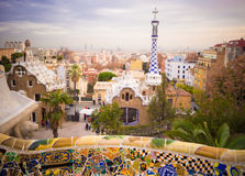 Park Guell in Barcelona. Park Guell designed by Antonio Gaudi, Barcelona, Spain Royalty Free Stock Images