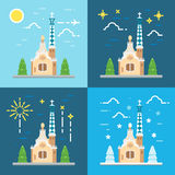 Park Guell Barcelona flat design Stock Images