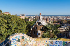 Park Guell, Barcelona. The Park Güell is a public park system composed of gardens and architectonic elements located on Carmel Hill, in Barcelona, Catalonia royalty free stock image
