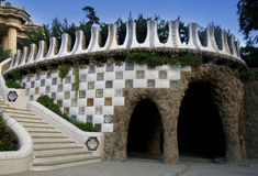 Park Guell Barcelona. Gaudi architecture in park Guell in Barcelona Royalty Free Stock Photo