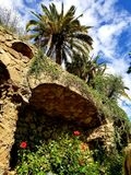 Park Guell Barcelona - overweldigende meningen! royalty-vrije stock fotografie
