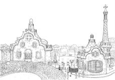Park Guell in Barcelona. Sketch of the central entrance to the Park Guell in Barcelona Royalty Free Stock Photos