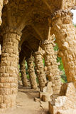 Park Guell, Barcelona, Spain. Stone arches  in Parc Guell in Barcelona Stock Photos