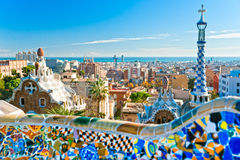Park Guell in Barcelona, Spain. View of Barcelona from Park Guell in Barcelona, Spain Stock Images