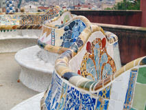 ParK guell in barcelona, spain. Detail from Parc Guell in Barcelona with a wave pattern Royalty Free Stock Image