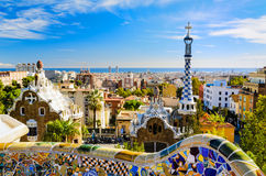 Park Guell in Barcelona, Spain. On a sunny day royalty free stock photos