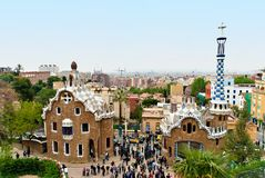 Park Guell, Barcelona - Spain. Park Guell is a garden complex with architectural elements situated on the hill of El Carmel in the Gracia district of Barcelona Stock Photography