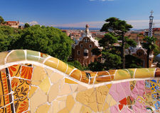 Park Guell, Barcelona, Spain. Park Guell in Spain with mosaic bench by Antonio Gaudi Royalty Free Stock Image