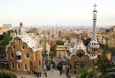 Park Guell in Barcelona (Spain). Designed by Antoni Gaudi Stock Image