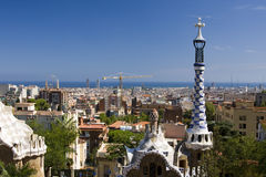 Park Guell in Barcelona, Spain. View on Park Guell, sea and Barcelona, Spain Stock Images