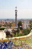 Park Guell in Barcelona, Spain with Gaudi houses. Famous park Guell in Barcelona, Spain with Gaudi houses Stock Photography