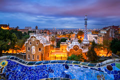 Park Guell in Barcelona, Spain. At night Royalty Free Stock Photos
