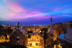 Park Guell in Barcelona, Spain at night. Barcelona skyline. Park Guell in Barcelona, Spain at night. Barcelona skyline royalty free stock photography