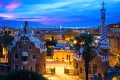 Park Guell in Barcelona, Spain at night. Barcelona skyline. Park Guell in Barcelona, Spain at night. Barcelona skyline stock image