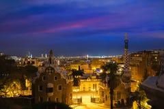 Park Guell in Barcelona, Spain at night. Barcelona skyline.  stock photos