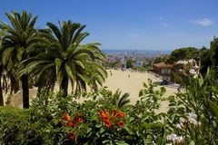 Park Guell in Barcelona, Spain. Panorama of Guell Park in Barcelona, Spain stock images