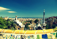 Park Guell in Barcelona, Spain. It is part of the UNESCO World Heritage Site Works of Antoni Gaudi Stock Photography