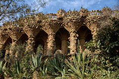 Park Guell in Barcelona, Spain. Park Guell, populart tourit attraction in Barcelona, Spain stock image
