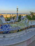 Park Guell in Barcelona, Spain. The stunningly vibrant colours and twisting shapes of the Spanish architect Gaudi's famous Parc Guell in Barcelona, Spain royalty free stock image
